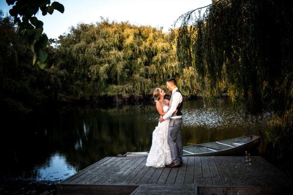 Bride and groom at their Petaluma barn wedding