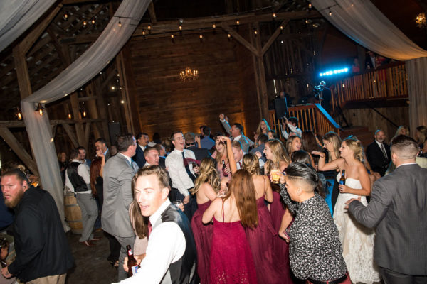 Dance party in historic barn.