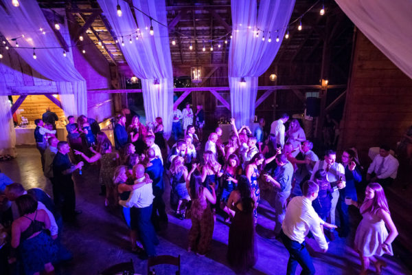 Dance lighting for barn wedding