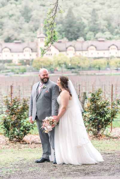 Bride and groom at their Napa Valley Winery wedding