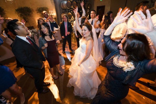 Wedding dance party at Jacuzzi Family Vineyards